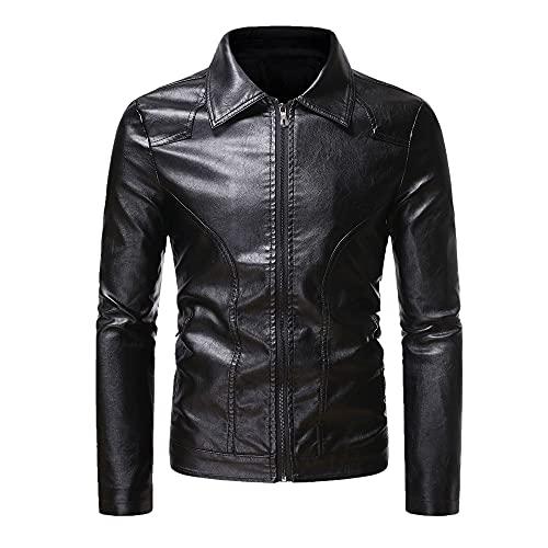 Color masculino delgado de las capas masculinas del cuero del negocio de la solapa de la cremallera lateral de los hombres, Negro, XL