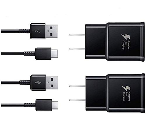 Phone Charger,Wall Charger Fast Charger-Adaptive Fast Charger Kit for Samsung Galaxy S8/S9/S10 Plus/Note8/9, Recharger Kit Include 2 xCharging Adapter & 2 x Type-C USB Cable