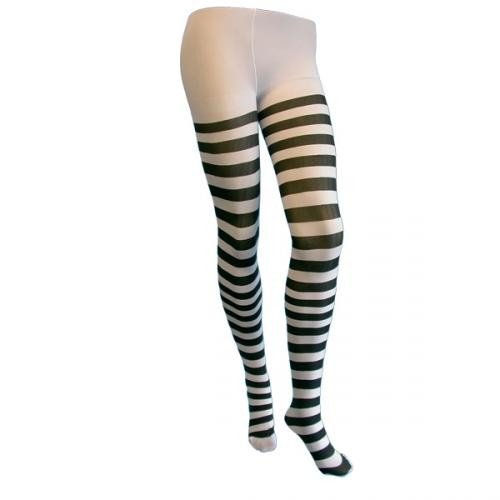 Fancy Dress Tights Lingerie Black And White Stripe Adult Size by party