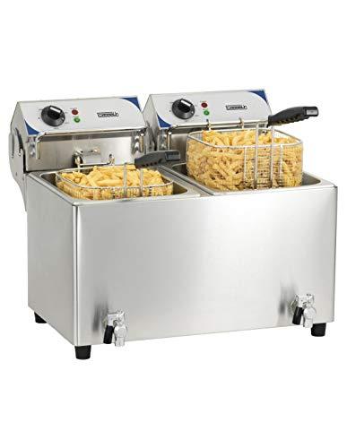 Casselin cfev72 elektrische friteuse met aftapkraan 2 x 7 liter