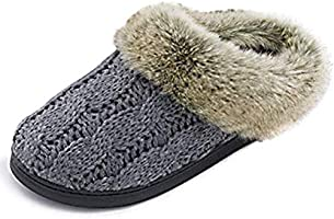 ULTRAIDEAS Women's Soft Yarn Cable Knitted Slippers Memory Foam Anti-Skid Sole House Shoes w/Faux Fur Collar, Indoor &...