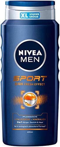 NIVEA MEN Sport Pflegedusche (400 ml), vitalisierendes und pflegendes Duschgel mit Mineralien, erfrischende Dusche für aktive Männer