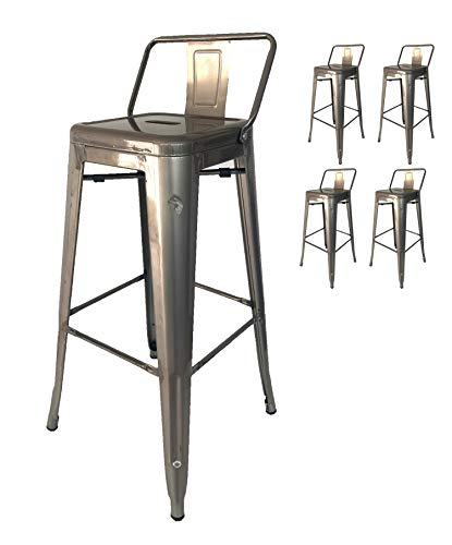 Kosmi - Lot de 4 tabourets de Bar en métal Brut avec...