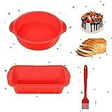 Moldes de silicona antiadherentes de silicona para hornear, incluye pan de silicona y molde rectangular, molde redondo para tartas y cepillo de aceite para hornear pan y pan de plátano