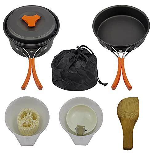 SHHMA Kit de Utensilios de Cocina de Camping, Juego de cocción al Aire Libre, Olla de Camping Ligera y sartén para 2 a 3 Personas,C