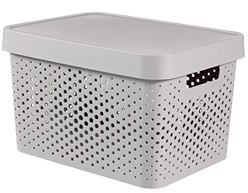 CURVER 04742-099-00Infinity Puntos Caja de almacenaje con Tapa plástico Gris Clair 36,3x 27x 22,2cm, 17L