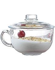 TAMUME 550ml Tazón De Cereal De Vidrio Para Microondas con Tapa de Cristal, Taza Cristal para Microondas, Taza de Desayuno
