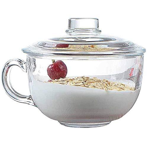 TAMUME 550ml Ciotola per Cereali in Vetro Microwavable con Coperchio Vetro, Tazza Colazione Grande per Microonde, Coppa della Colazione