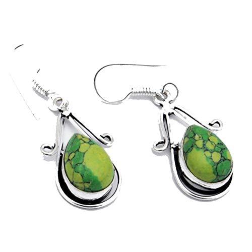 ¡TURQUESA verde! PENDIENTE HECHO A MANO 1.75'de largo, joyería de arte chapada en plata esterlina. Tienda de variedad completa.