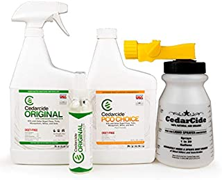 Cedarcide Indoor/Outdoor Kit (Small) Contains Original Biting Insect Spray Quart + PCO Choice Cedar Oil Concentrate Lawn Bug Spray Kills and Repels Fleas, Ticks, Ants, Mites, and Mosquitoes