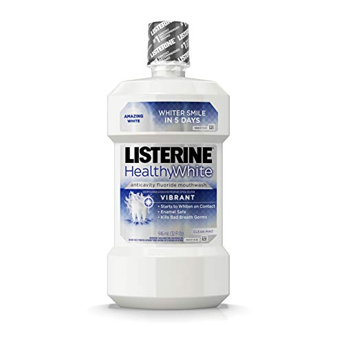 Listerine Healthy White Vibrant Multi-Action Fluoride Mouthwash, Foaming Anticavity Oral Mouth Rinse For Whitening Teeth & Fighting Bad Breath, Enamel-Safe, Clean Mint Flavor, 32 fl. oz