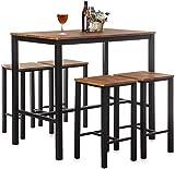 Juego de Mesa de Bar y Taburete Home Treats |Juego de 4 taburetes de Bar yMesa de Comedoramp|para CocinaComedorConservatorioPatio