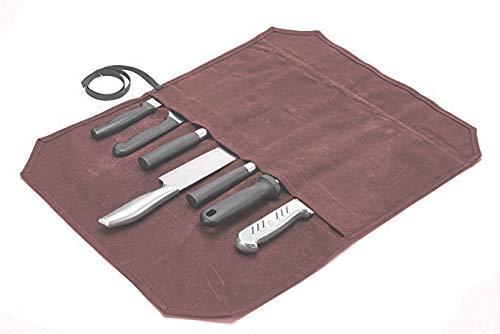 QEES Canvas Kochmesserrolle, Mehrzweck-Werkzeugrolle, Küchenmesser-Tasche, Reise-Werkzeug-Rolltasche DD31 (rotbraun)