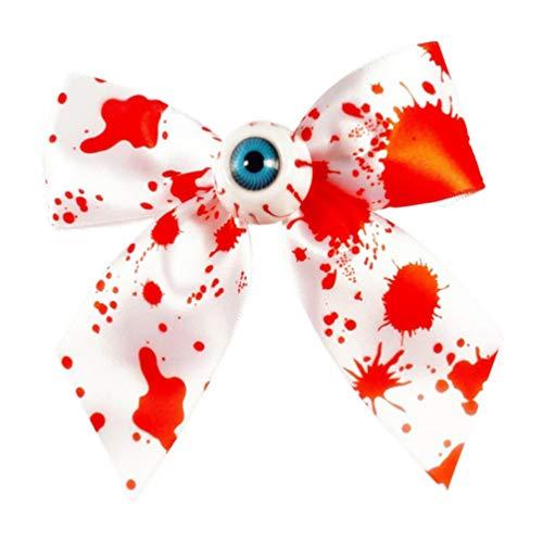 Beaupretty Gravata borboleta de cabelo horrível para o Dia das Bruxas, tiara de horror com estampa de manchas de sangue, laço de cabelo, anel de cabelo para cabeça