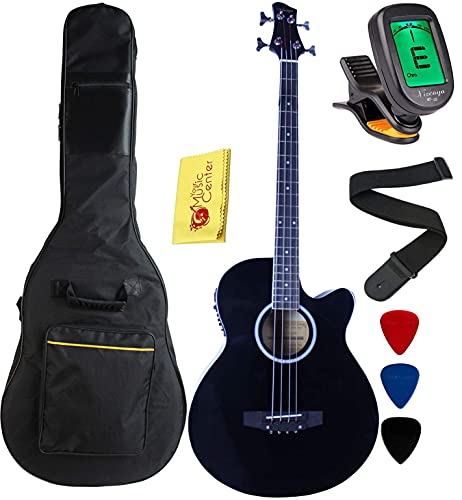 Vizcaya Full Size 4 Strings Cutaway Acoustic-Electric Bass Guitar With 4-Band Equalizer,5mm Padding Gig Bag,Strap, Picks-Black
