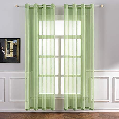 MIULEE 2er Set Sheer Voile Vorhang mit Ösen Transparente Gardine aus Voile Polyester Ösenschal Transparent Wohnzimmer Luftig Dekoschal für Schlafzimmer 140 X 225 cm (B x H), Rod Pocket Grün