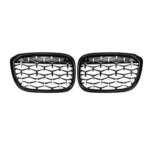 XIAOJIE Piezas exteriores New Diamond Pills Meteor Style Reemplazar la parrilla de parachoques delantero del coche apto para BMW X3 X4 G01 G08 G02 2017-2020 negro+plata coche (color: púrpura gris)