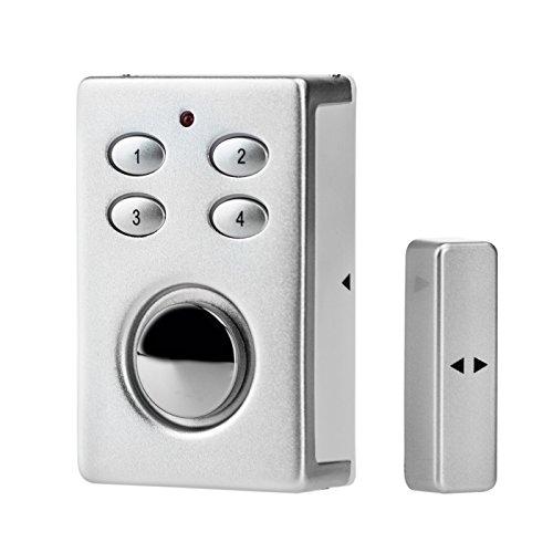 Kobert Goods - Sp65 Silber Drahtloser Tür Fenster Garage Oder Vitrinen Alarm, Einsatz Als Alarmanlage, Einbruchsschutz, Mit Pin Code Eingabe, Magnet/Vibration/Erschütterung Sensor Sowie 130Db Sirene
