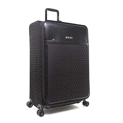 DKNY Signature Softside Spinner Luggage with TSA Lock, Jet Black, 29 Inch