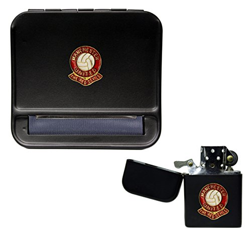 Manchester United Football Club Cigarette Rolling Machine and storproof Petrol Lighter