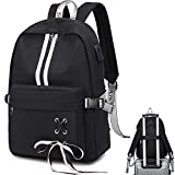 CAMTOP School Laptop Backpack USB College Backpack Casual Travel Daypack with Luggage Strap for Women Girls (Black-3)
