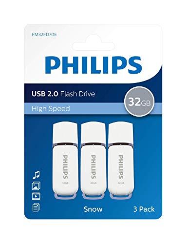 Pen Drive 32gb USB 2.0 Philips Snow Edition Grey FM32FD70E/00 chiavetta flash drive (32 GB) confezione da 3 pezzi