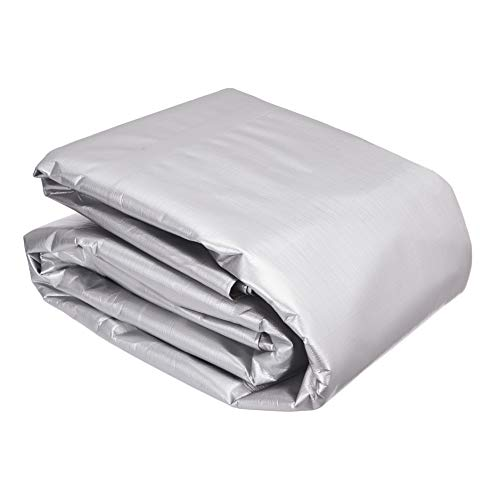 AmazonCommercial – Multifunktionale Polyester-Plane, wasserfeste Abdeckung, 6 x 9 m, 0,4 mm dick, silberfarben/schwarz, 2 Stück