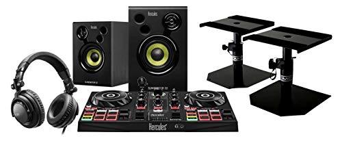 Hercules DJ Learning Kit inkl. Tischstative (DJ-Bundle mit 2-Deck Controller, aktivem Studiomonitor Paar, Kopfhörer & 2 Tischstativen)