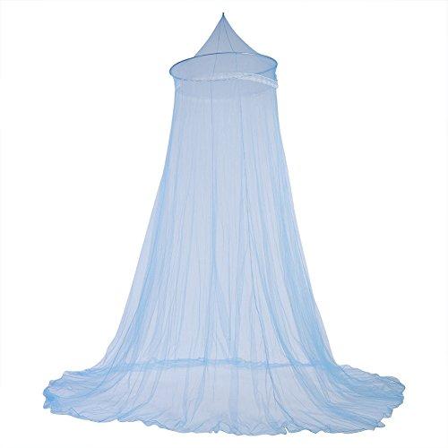 Fdit Bett Moskitonetz Bett Baldachin Vorhänge Elegante Spitze Prinzessin Kinder Baldachin Vorhang für Mädchen Zimmer Bettwäsche(Blau)