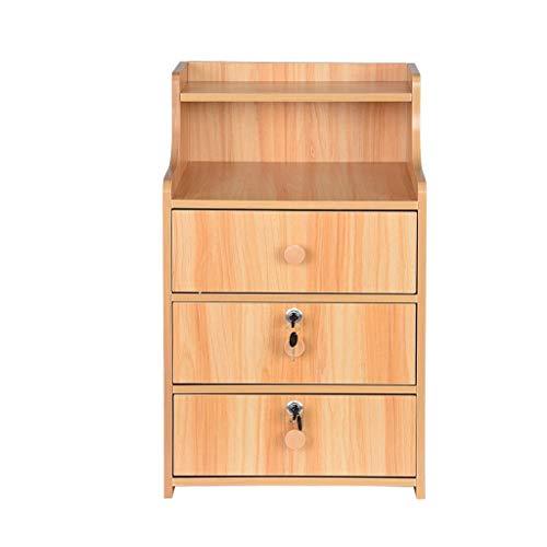 Buy Bargain Bedroom Nightstand, vmree 3 Drawers Locker End Table- Modern Natural Wood Frame Storage ...