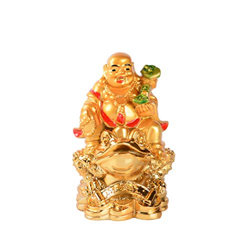 Resin Golden Laughing Buddha Sitting on Money Frog Statue Feng Shui Wealth Lucky Gift Decoration