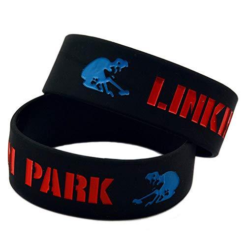 CWLLWC Silicone Braccialetto,Braccialetti in Silicone con detti 'Linkin Park' Braccialetti di Gomma per incoraggiamento Uomini Set di