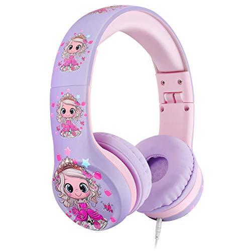 Nenos Kids Headphones Girl On Ear Headphones for Kids Toddler Headphones Limited Volume Headset for School, Travel (Princess)