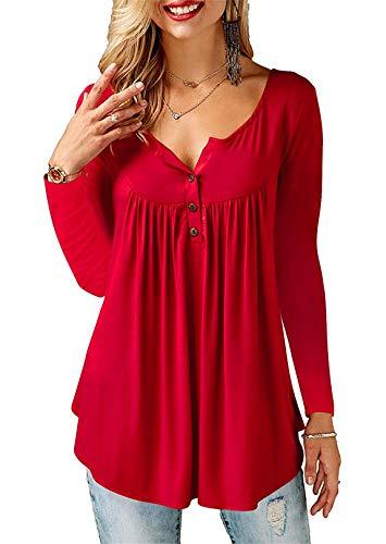AMORETU T-Shirt Damen V-Ausschnitt Knopfleiste Bluse Solide Tunika Sommer Tops , Langarm-burgund, XXL/DE 54-56