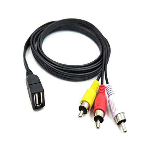 Duttek 5 pies / 1,5 m Hembra del USB 2.0 a 3 RCA Video Masculino A/V Adaptador práctico videocámara Grande para el Equipo de AV