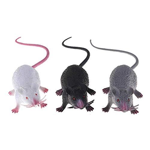 EOPER Paquete de 6 ratas de plástico realistas falsos ratones, trucos de Halloween bromas de juguete