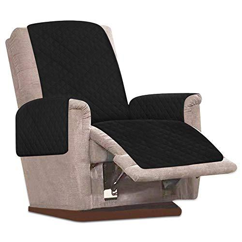 JTWEB Sesselschoner Sesselauflage Relax mit rutschfest, 1 Sitzer Sesselschutz Sofaüberwurf mit 2.5 cm Breiten verstellbaren Trägern (Schwarz)