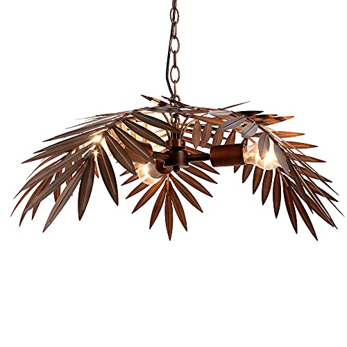 Newrays Lámpara colgante vintage de bronce oscuro, hoja de árbol rústica para sala de estar, dormitorios, candelabros, accesorios de iluminación (PYZS1)
