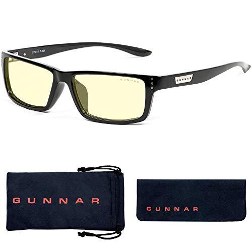 GUNNAR - Gaming and Computer Glasses - Blocks 65% Blue Light - Riot, Onyx, Amber Tint