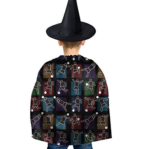 Amoyuan Unisex Kids Kerstmis Halloween Heks Mantel Met Hoed Laten We Schoppen Sommige Gras Voetbal Wizard Cape Fancy Jurk