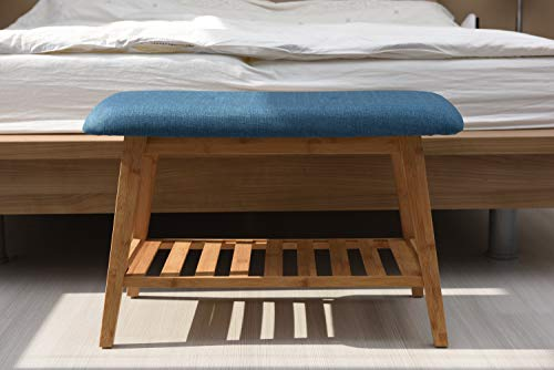 CLS Banco zapatero acolchado de madera con estante para zapatos (70 cm)