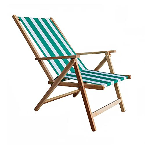 Sdraio mare in legno e tela richiudibile per campeggio piscina giardino reclinabile in 2 posizioni (Righe Verde/Bianco)