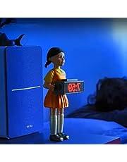 イカゲーム 目覚まし時計 Squid Game 時計 レッドライトグリーンライトドールクロック 面白い人形の目覚まし時計 イカゲーム人形 321木製の男