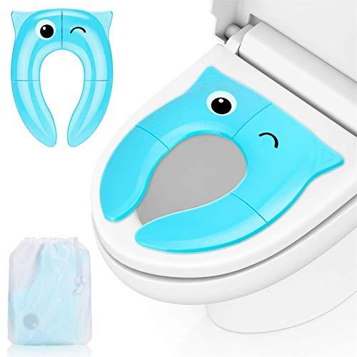 Migimi Kinder Toilettensitz, Integrierter Faltbarer Universeller Blauer Kindertoilettensitz, Eulen-Cartoon-Toilettensitz, Geeignet für Tragbare Reisetoiletten für Unterwegs
