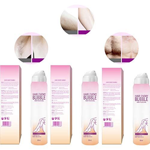 Hair Enemy Bubble - Crema depilatoria permanente para brazos, axilas, piernas, ingredientes suaves (3 unidades)