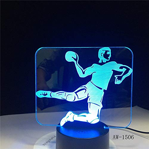 Jiushixw 3D acryl nachtlampje met afstandsbediening van kleur veranderende tafellamp handbal speler vorm kind geschenk baby sport nachtkastje auto tafellamp