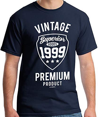 21st Birthday Gifts Men's Vintage Premium 1999 T-Shirt, Navy 1999, L