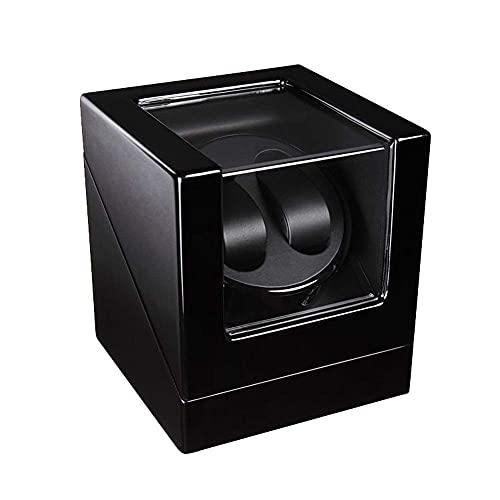 FGVBC Caja enrolladora de Reloj automática Doble, Caja de Almacenamiento de Pintura de Piano para 2 Relojes de Pulsera Ventanas de visualización de Motor silencioso Happy Life