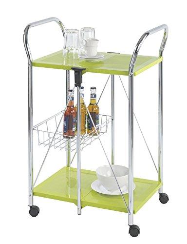 Wenko Sunny Carro de Cocina Plegable, Metal Recubrimiento de Polvo, Verde, 44x56.5x90.5...