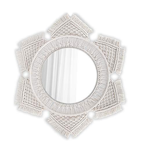 Flexzion Espejo de Pared Colgante de macramé, Espejo Redondo con diseño de Rayos de Sol, Decoración rústica Boho para Pared, Sala de Estar, Dormitorio, Cocina, Cuarto de Bebé, Feng Shui y Maquillaje
